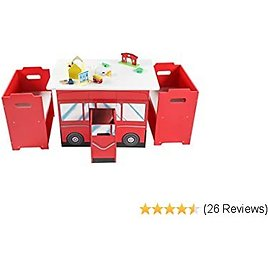 Kids Table and Chairs Set with Storage Bins