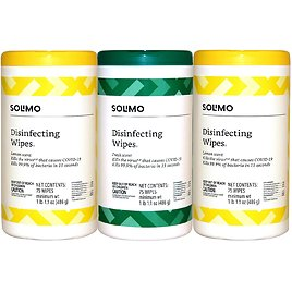 3-Pack Solimo Disinfecting Wipes Lemon & Fresh Scent
