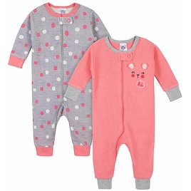 Gerber® 2-Pack Baby Girls Bear Thermal Footless Unionsuits