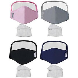 4x Washable Reusable Face Mask with Eye Shield Mouth Cover for Men and Women