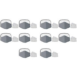 10Pcs Cloth Face Mask Cotton Mouth Cover Eye Shield Mask with 20 Filters, Gray