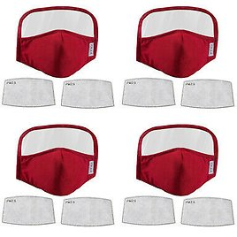 4Pcs Cloth Face Mask Cotton Mouth Cover Eye Shield Mask with 8 Filters, Wine Red