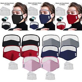 10x Reusable Washable PM2.5 Protective Face Mask w/ Eye Shield + 20 Filters Pads