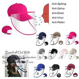 Cap Baseball Hat with Removable Full Face Cover Shield BaseAnti Saliva UV Protective Clear Anti Splash Shield Perfect Back to School Gift