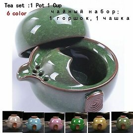 Kitchen Ceramic Tea Kettles Set Traditional Home Teapot Cup Water Coffee Kettle