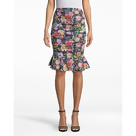 Watercolor Floral Cotton Metal Ruffle Skirt