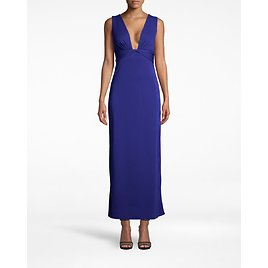 Stretchy Matte Jersey Plunge Gown