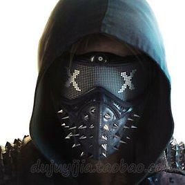 Watch Dogs 2 Cosplay Rivet Face Masks Unisex Marcus Wrench LED Light Prop Cos