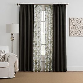 Marrakesh 4-Pack Rod Pocket Solid with Printed Voile Window Curtain Panels
