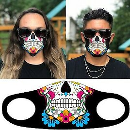 DAY OF THE DEAD FLOWER SUGAR SKULL FACE MASK CLOTH COVER REUSABLE WASHABLE USA