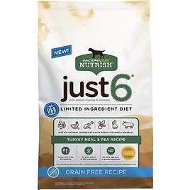 Rachael Ray Nutrish Just 6 Natural Grain-Free Turkey Meal & Pea Limited Ingredient Diet Dry Dog Food, 24-lb Bag - Chewy.com