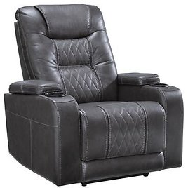 """Signature Design By Ashley 2150613 Composer Collection 2150613 35"""" Power Recliner with Adjustable Headrest, Lattice Stitchwork and LED Lights in Gray"""