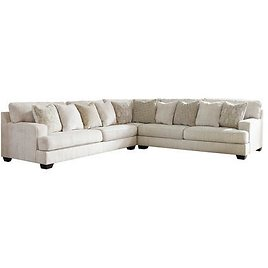 13PC Sectional Sofa with Left Arm Facing Sofa, Wedge and Right Arm Facing Sofa in Parchment
