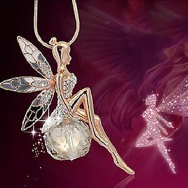 Fashion Women Jewelry Crystal Fairy Angel Wing Pendant Long Chain Necklace Gift