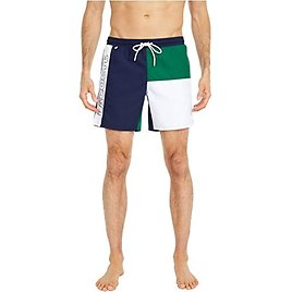 """Lacoste """"Color-Block"""" and Printed Mid Length Swim Trunks"""