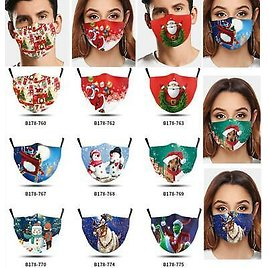 Christmas Print Face Mask Protective Covering Mouth Masks Washable Reusable