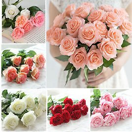 Artificial Latex Real Touch Rose Fake Flower Wedding Home Decor Bridal Bouquet