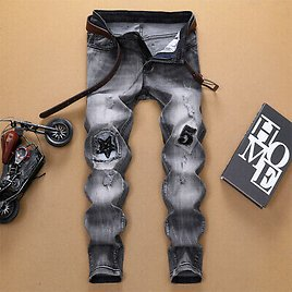 Men's Fashion Slim Fit Jeans Stretch Straight Jeans Destroyed Ripped Patch Pants