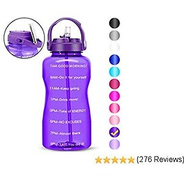 BuildLife Gallon Water Bottle Motivational- BPA Free with Straw &Phone Holder Handle/Reminder to Drink More Daily/Leakproof Reusable Large Capacity