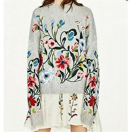 2020 Autumn Women Floral Embroidered Softly Wool Flower Sweater Jumper Cardigans