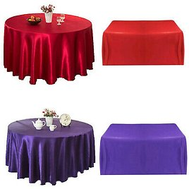 2x Square Satin Table Cover Skirt Cloth Tablecloth Wedding Party Home Decor
