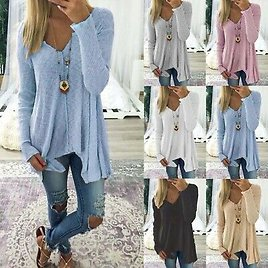 Plus Size Women Long Sleeve Sweater Casual Pullover Jumper Blouse Tops T Shirt
