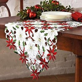 38*176cm Embroidery Table Runner Placemat Tablecloth Christmas Flowers Decor Red