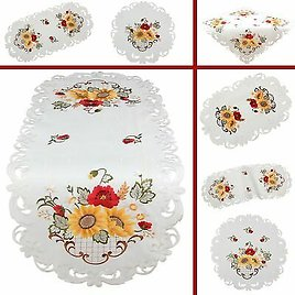 Red Poppy Yellow Sunflower Embroidery Table Runner Tablecloth Satin-look White