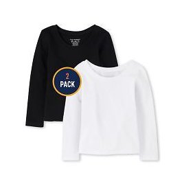 Baby And Toddler Girls Long Sleeve Basic Layering Tee 2-Pack
