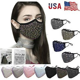 Sequin Glitter Fabric Fashion Bling Face Nose Mask Washable Reusable USA Seller