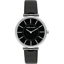 Anne Klein Women's Black Leather Strap Watch 36mm & Reviews - Watches - Jewelry & Watches