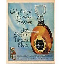 1960 BELLOWS Partners Choice Whiskey Crystal Decanter Gift Vintage Ad
