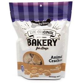 Three Dog Bakery Animal Crackers with Peanut Butter Dog Treats, 13-oz Bag - Chewy.com