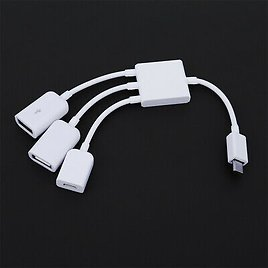 Micro USB Male to Female OTG HUB Adapter Charge Cable Data Cord Line Splitter .
