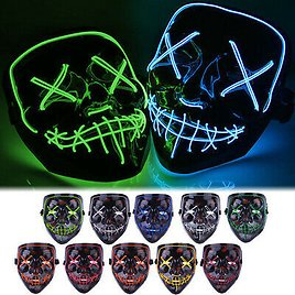 Halloween Glow Mask LED Light Up Horror Costume Party The Movie Cosplay