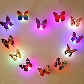 3D Butterfly LED Light Art Design Decal Wall Stickers Home Mural Room Decor