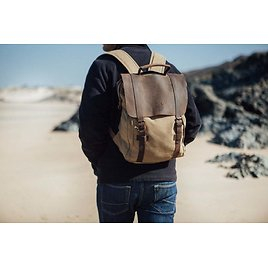 Wax Canvas Backpack - Waxed Canvas Vintage Reclaimed Leather Backpack | Recycled Leather | Canvas Rucksack | Wax Canvas Bag Tan Brown