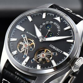 CORGEUT 47mm Black Dial Silver Stainless Steel Case Seagull JHLS15 Men's Watches