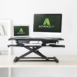 """AdvanceUp 2-tier 37.4"""" Wide Standing Desk Converter, Support 33 Lbs, Height Adjustable Dual Monitor Sit Stand Workstation"""