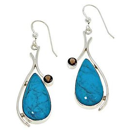 Exclusive! Jay King Sterling Silver Andean Turquoise and Smoky Quartz Earrings