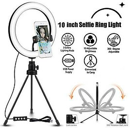 """10"""" Phone Selfie LED Ring Light Stand Tripod Dimmable For Makeup Video"""