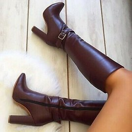 Womens Knee High Boots High Heel Pointed Toe Buckle Shoes Side Zip UK 2.5-10.5