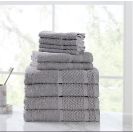 Mainstays Value 10-Piece Cotton Towel Set with Upgraded Softness & Durability