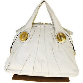 Authentic GUCCI Logo Tote Hand Bag Leather White Gold-tone Made In Italy 66BM043