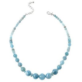 Exclusive! Jay King Sterling Silver Aquamarine Bead Necklace