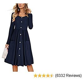 KILIG Women's Long Sleeve Dresses Casual Button Down Midi Dress with Pockets
