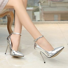 Womens Super High Heels Ankle Strap Pumps Patent Leather Sexy Pointed Toe Shoes
