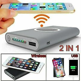 900000mah Qi Wireless Power Bank Pack Backup Battery Charger For All USB Phone