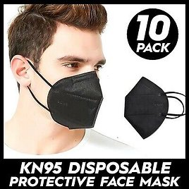 NEW 10 PCS BLACK KN95 Mask Covers Mouth & Nose Protective Face USA Seller
