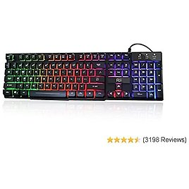 DADUIZHANG Profession Game Mechanical Waterproof Ergonomically Rainbow Keyboard with Rainbow Backlight USB Wired Light Gaming Keyboard for Desktop Laptop,White
